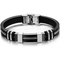 pulseras de cuero para hombre al por mayor-4 colores para hombre pulseras de cuero de acero inoxidable de silicona encanto de la manera diseño pulseras brazalete de cuerda