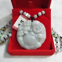 Wholesale jade buddha gifts resale online - Send Certificate Natural Myanmar Jadeite Carving Lucky Beast Laughing Buddha Pendant Three color Jade Bead Necklace Gift Box