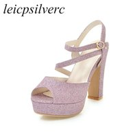 plataforma de zapatos de boda púrpura al por mayor-Sandalias de las mujeres zapatos Super tacón alto Pu Peep Toe Bling Plataforma Hebilla Verano Nueva Moda Sexy Boda Casual Oro Plata Púrpura
