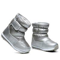 çizme astarı toptan satış-Çocuk Lastik Çizme Kız Erkek orta buzağı bungee bağcık kar botları su geçirmez kız boot spor ayakkabı kürk astar çocuklar boot Y18110304