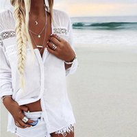 Wholesale harajuku bell resale online - Women Boho Summer Beach Lace tops and Blouse elegant Long Sleeve harajuku tee Shirt femme white vintage camisa