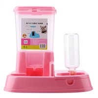 dispensador automático de botellas de agua al por mayor-Alimentador automático para mascotas Dispensador de alimentos desmontable Botella de agua Gatos Perros Herramienta de alimentación Productos para mascotas Gatos Suministros para perros