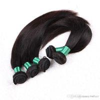 saç paketleri 6a notu toptan satış-Uygunluk Sınıf 6A-Uzunluk 12 '' -28 '' çift saç atkı ile Düz saç demeti Doğal Renk 100% İnsan saç 5 adet / grup, Damla s