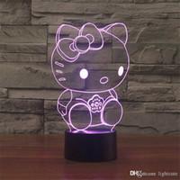 usb para chicas al por mayor-Guapo Hello Kitty 3D táctil de interruptor de la lámpara de escritorio USB Ambiente dormitorio de la luz luz de la noche de la lámpara LED como regalo de cumpleaños de la muchacha