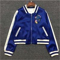 chaquetas baseball mulher venda por atacado-Moda- quebra-vento Revestimentos das mulheres primavera bordado jaqueta de piloto Blusas femininas Chaquetas causais Moletons bomber jacket mujer