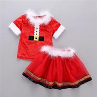 Wholesale furs for girls resale online - Christmas Kids Short Sleeve Tops TUTU Skirt Girls Dress piece Suit Outfits Santa Claus Xmas INS Fur Collar Kids Clothes For T neA101101