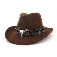 brutierte cowboy mens hüte großhandel-QIUBOSS Unisex Karneval Cowboy Mode Hut Roll Krempe Wollfilz Fedora Herren Damen Western Hüte Metall Bullhead verziert Trilby