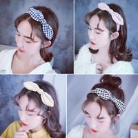 diadema de orejas de gato rojo al por mayor-Nueva red de tocado de tela a cuadros red versión coreana de la oreja de gato banda para el pelo chica sum elegante diadema