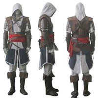 ingrosso costume nero assassino-Mascotte di Assassin Creed IV 4 Black Flag Edward Kenway Costume intero Set Custom Made Spedizione Express
