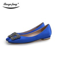 Wholesale lace flat brides shoes resale online - New arrival Spring and Autumn womens Fashion Flat black blue pink pointed Toe party shoes ladies office shoes Bride wedding shoe