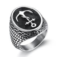 anker-ringe schmuck großhandel-Anker Ring Edelstahl für Männer Piratenschiff Punk Rock Stil Fingerring Für Männer Junge Biker Ring Film Modeschmuck
