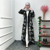 2019 New Arrival Muslim Women Floral Print Black Abaya S-2XL Plus Size Islamic Women Long Sleeved Jilbab Robe