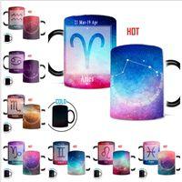 ingrosso ceramica zodiaca-Tazze da caffè Zodiac da 12 once Tazze da caffè Novità Tazze da caffè calde e sensibili al calore Tazza di ceramica a costellazioni Constellation Disponibile