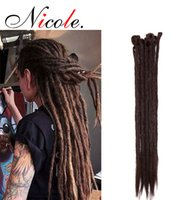Wholesale dark purple braiding hair for sale - Group buy 20 quot Dreadlock Extension Nicole Ombre Strands Pack For Hip Hop Synthetic Dark Brown Crochet Braiding Hair Handmade Extension