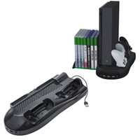 Wholesale sale xbox games for sale - Group buy Hot sale Vertical Stand Cooling Fan w Game Discs Storage Dualshock Charger Controller Charging Station for Xbox One X With Indicator fre
