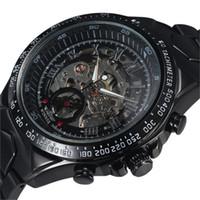 победитель группы оптовых-2016 Top  Winner Stylish Design Formal Men Mechanical Automatic Self-Wind Black Steel Band Skeleton Dress Wrist Watch Gift