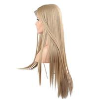 volle spitzeperücke blonde lang groihandel-13 * 6 Zoll Spitze Volle Lange Blonde Perücken Für Frauen Kanekalon Synthetische Spitzefrontseitenperücke Gerade Reale Natürliche