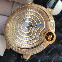 stones watch venda por atacado-Baguette Pedras Assista Relógios de Ouro Diamante Relógio para Homens Automático Relógios Homens Mecânicos Relógio de Pulso de Couro Relógio de Super Presente