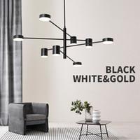 techo suspendido luces led al por mayor-Moda moderna negro oro blanco largo Led techo suspendido araña lámpara de luz para Hall cocina sala de estar dormitorio Loft