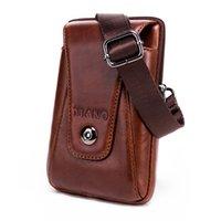 mini saco de cintura para homens venda por atacado-New Fashion Men Vintage Couro Flap Viagem Bolsa de Cintura Masculino Mini Shoulder Bag Lazer Sling Bag pequena bolsa Atacado
