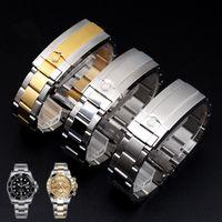 водостойкие серебряные часы оптовых-2019 водонепроницаемый ремешок из нержавеющей стали складной пряжкой ремешок мужские часы band20mm серебро золото с инструментами