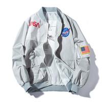 rahat rüzgarlık toptan satış-Marka Yeni NASA Uçuş Pilot Erkek Tasarımcı Ceketler Rahat MA1 Bombacı Ceket Sonbahar Mektup Baskılı Rüzgarlık Erkek Giyim