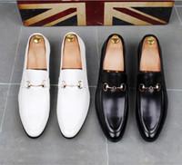 zapatos italianos casuales de cuero para hombre al por mayor-2019 Nueva PU de cuero Casual Conducción Oxfords Pisos del partido Zapato Mocasines Mocasines hombres italianos zapatos de boda S57