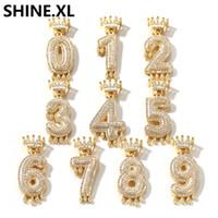 kolye altın kefaleti toptan satış-Özel Taç Kefalet Damla Kabarcık Numarası Zincir Kolye Kolye Erkekler Kadınlar Için Altın Renk Kübik Zirkon Hip Hop Takı