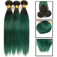 insan saçı ombre mavi uzantı toptan satış-3 Adet Ombre Brezilyalı Saç Düz Demetleri T1B / Yeşil / Mor / Mavi Ombre 100% İnsan Saç Dokuma Paketler Kahverengi Remy Saç Uzantıları