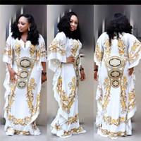 ingrosso abito spandex giallo-Abiti africani per le donne Dashiki Print Evening Long Dresses Bazin Riche Women Abbigliamento africano White Yellow Robe Wide