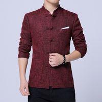 çince tarz ceketler toptan satış-Çin Tunik Suit 2019 Bahar Yeni Çin Tarzı Moda Tang Ceket Erkekler Pamuk Keten Rahat Kumaş Erkek Ceket ve Mont