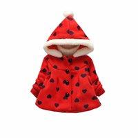 casaco de pele vermelho venda por atacado-Nova Roupa Da Menina Da Criança Do Bebê Amor Puro Quente Moda Inverno Desgaste das Crianças de Pele De Veludo Grosso Jersey Rosa Vermelho 0-2 Anos de Idade casaco