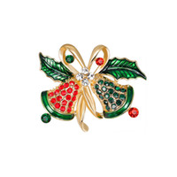 Wholesale brooches sale resale online - Hot Sale Vintage Christmas Tree Bell Brooches Green Leaf Enamel Crystal Brooch Pin for Women Men Clothing Jewelry Accessories