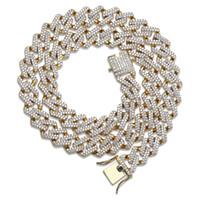 conjunto de collar colgante chapado en oro al por mayor-2019 Nuevo Hip Hop Diamond Necklace Micro Cubic Zirconia Collar colgante de cobre con diamantes 18k Chapado en oro Cadenas heladas