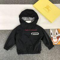 Wholesale european kids clothing sizes resale online - Children jacket kids designer clothing autumn boys and girls classic jacket hooded coat back letters Size cm