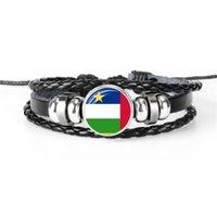 bracelete de couro africano venda por atacado-Corda de couro da Europa Pulseiras de Talão Para As Mulheres Dos Homens da República Centro-Africana Nacional Da Bandeira Da Copa Do Mundo de Futebol Fan Time Gem Cúpula De Vidro Jóias