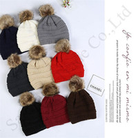 Wholesale child crochet muff resale online - Family Kids Thick Warm Winter Hat For Adults Children Soft Stretch Cable Knitted Pom Poms Beanies Hats Outdoor Slouchy Skullies Cap C91805