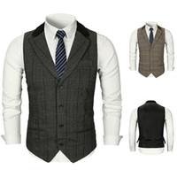 Wholesale punk clothing patterns for sale - Group buy 2019 Mens Designer Wedding Vest Slim Fit Plaid Groom Clothes Formal Men Waistcoat Suits In Stock