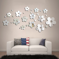 Wholesale mirror sticker flower designs resale online - Flower Mirror Wall Sticker Creative DIY Decorations