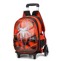 Wholesale anime stationery resale online - Spiderman d Anime Travel Luggage l Students School Bag Climb Stairs Suitcase Children Cartoon Backpack Boy Stationery Bag Y19062401