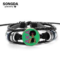 neue punk-styles großhandel-Songda Neue Art! Griechische Sorority AKA Glasstein-Charme-Leder-Armband Vintage schwarze Punk beiläufige Armbänder für Frauen Männer Schmuck
