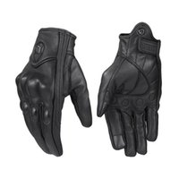 schwarze lederhandschuhe für frauen großhandel-Schwarz Winddicht Pursuit Echtes Leder Motorradhandschuhe Touchscreen Männer Frauen Motocross Bike Moto Handschuhe
