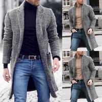 gabardinas de lana para hombre al por mayor-La lana abrigo de invierno cálido Gabardina larga Moda Ropa de abrigo larga chaqueta Outwear caliente