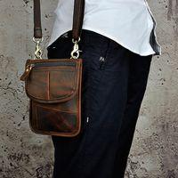 leder taille brieftasche für männer großhandel-Designer dünne einfache Vintage kleine Schulter Messenger 7 Zoll Crazy Horse Leder Herren Gürtel Gürteltaschen / Brieftasche für Iphone