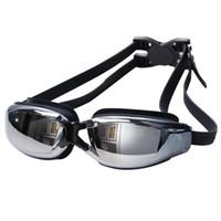 sockets de gafas al por mayor-Gran marco Recubrimiento impermeable Antivaho UV Gafas de natación Visión panorámica panorámica Zócalos de silicona flexibles Ajuste cómodoN