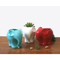 ingrosso fiore in vaso decorativo in ceramica-1pc minimalista White Elephant Planter ceramica per Succulente Succulente decorativi Pot Mini Flower Pot Casa decorazione del giardino
