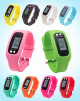 contadores de distancia digitales al por mayor-Digital LED podómetro inteligente Reloj múltiple Corredor de silicona Paso a pie Calorías Contador Reloj Pulsera electrónica Podómetros coloridos