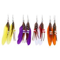 largos pendientes de plumas al por mayor-Nuevo Bohemia Pendientes de plumas Granos Diseño largo Dream Catcher Pendientes para las mujeres Joyería de Oorbellen adornos suntuosos Pendientes de gota