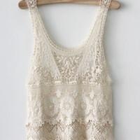 hippie corto de ganchillo al por mayor-Summer Chic Modo casual Sexy Hippie Boho presenta de Crochet Bege Vest Short Blusa