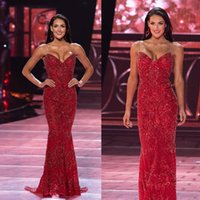 Wholesale pageant dresses size 14 girl for sale - Group buy Full Sequins Evening Dresses Red Sweetheart Neck Mermaid Prom Gowns Luxury Crystal Girls Pageant Red Carpet Dress